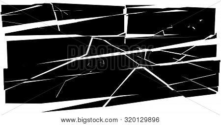 Facture, Crack Element. Shatter, Broken Surface Texture. Grungy Design. Decay, Burst Splinters Illus