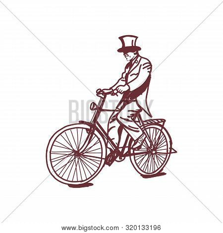 Sketch Of Victorian Man Riding A Bicycle,victorian Era Steampunk Vector Line Art Hand Drawn Illustra