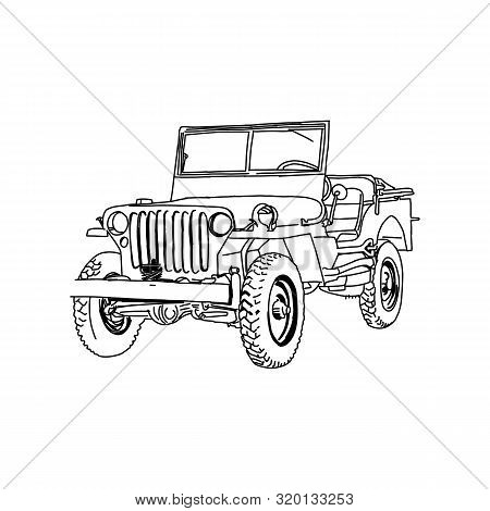 Military Vehicle Jeep Army Vector Line Art Hand Drawn Illustration