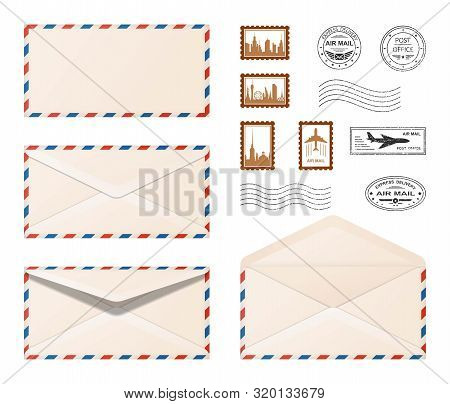Air Mail Envelope.  Set Various Realistic Envelopes With Postmarks And Postage Stamps . Air Mail,  E