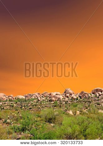 Sunset And Boulder Chain In The Sonora Desert In Central Arizona Usa