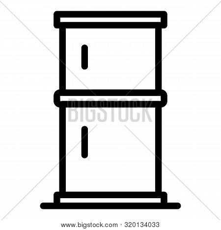 Two Chamber Refrigerator Icon. Outline Two Chamber Refrigerator Vector Icon For Web Design Isolated