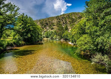 Crystal Clear Water In River Neretva, Bosnia And Herzegovina
