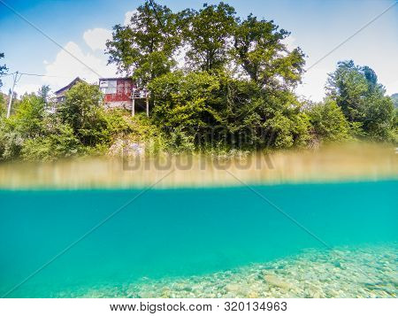 Ladanica, Bosnia And Herzegovina - July 19, 2019. Crystal Clear Water In River Neretva