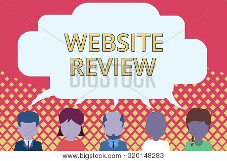 Word writing text Website Review. Business concept for Reviews that can be posted about businesses and services Five different races persons sharing blank speech bubble. People talking. poster