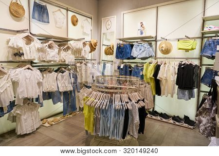 VERONA, ITALY - CIRCA MAY, 2019: interior shot of Stradivarius store in Verona. Stradivarius is an international women and men clothing fashion brand from Spain owned by the Inditex group.