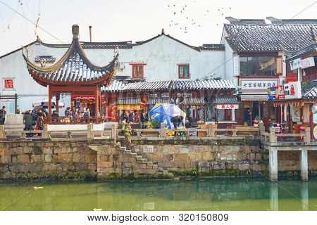 SHANGHAI, CHINA - CIRCA FEBRUARY, 2013: view of Qibao Old Town in Shanghai in the daytime..