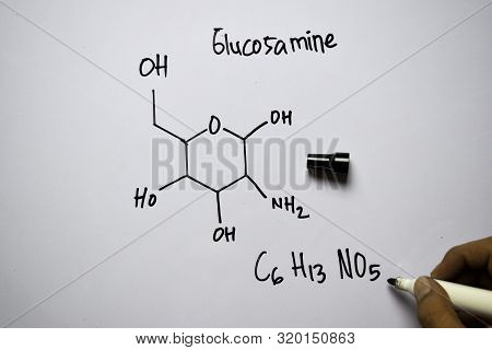 Glucosamine (c6,h13,no5) Molecule Written On The White Board. Structural Chemical Formula. Education