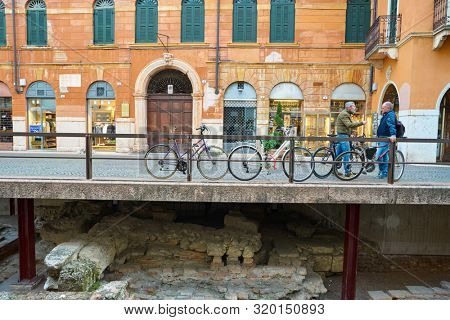 VERONA, ITALY - CIRCA MAY, 2019: a view of a street located in Verona in the daytime.