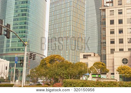 SHANGHAI, CHINA - CIRCA FEBRUARY, 2013: urban landscape of Shanghai in the daytime..
