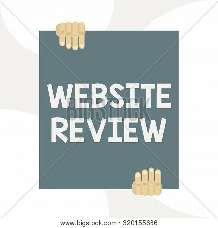 Handwriting text writing Website Review. Concept meaning Reviews that can be posted about businesses and services Two hands holding big blank rectangle up down Geometrical background design. poster