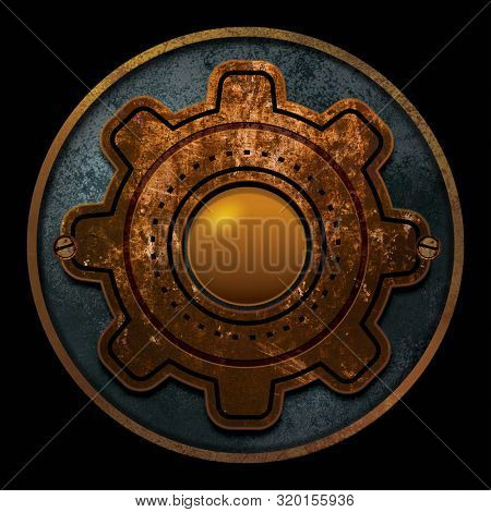 Steampunk gear background illustration for logo