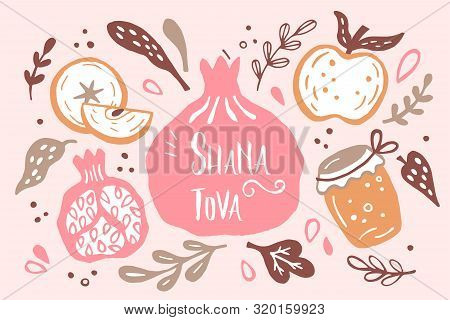 Rosh Hashanah (jewish New Year) Greeting Card Design With Hand Drawing Apple, Honey And Pomegranate.