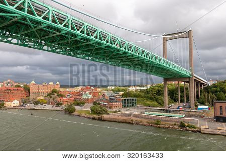 Gothenburg a city in Sweden, with a view on the beautiful green bridge called