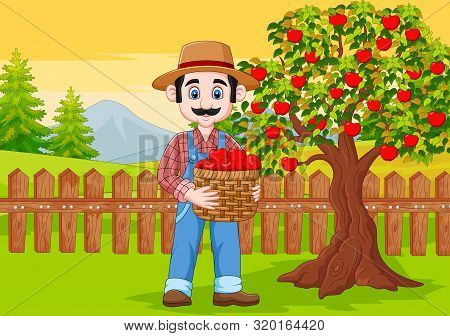 Vector Illustration Of Cartoon Male Farmer Holding Apple Basket At The Farm