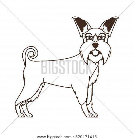 Silhouette Of Cute Schnauzer Dog On White Background Vector Illustration Design