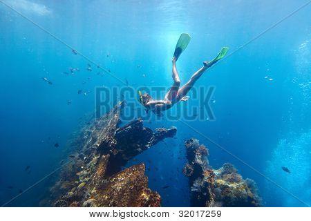 Mladá žena potápění na dechu drží a pokutování v modré transparentní moři poblíž vrak USAT Liberty, Tulská