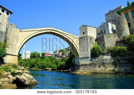 The Old Bridge in Mostar with river Neretva. Bosnia and Herzegovina.