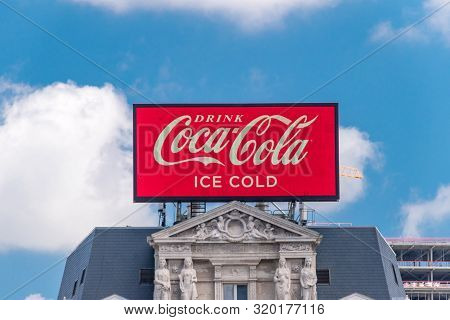 Brussels, Belgium - June 6, 2019: Coca-cola Advertisement On Building. Coca-cola, Or Coke, Is A Carb