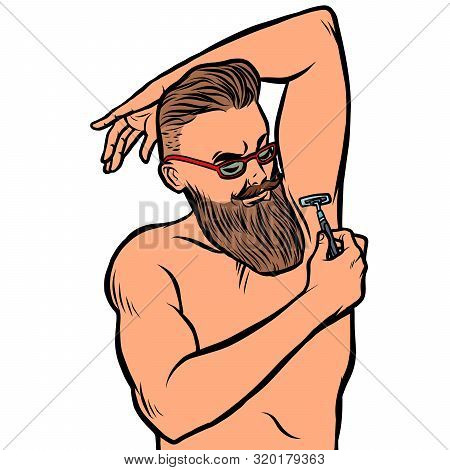 Bearded Hipster Man Shaves His Armpit With A Razor. Isolate On White Background. Comic Cartoon Pop A