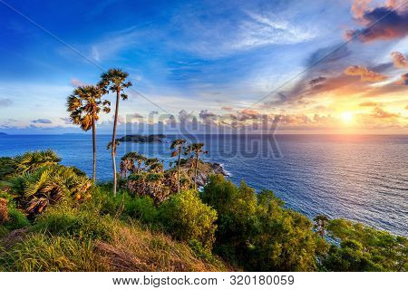 Promthep Cape Viewpoint At Sunset In Phuket, Thailand.