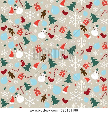 Christmas Seamless Pattern With Snowflakes, Snowman And Christmas Decoration. Happy New Year Multico