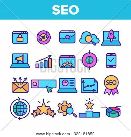 Color Seo Search Engine Optimization Icons Seo Vector Thin Line. Collection Of Different Seo Element