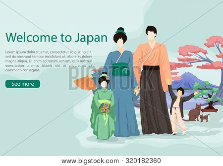 Japanese With Girl And Boy In National Costume On Background Sakura. National Clothes. Vector Illust