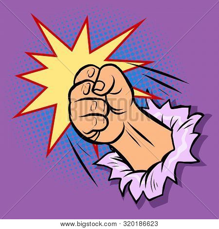 A Fist Smashes Through The Wall. Pop Art Retro Vector Illustration Drawing