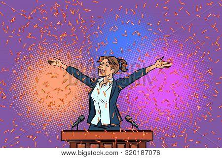 Women Winner Politician Triumph On The Podium. Comic Cartoon Pop Art Retro Illustration Hand Drawing