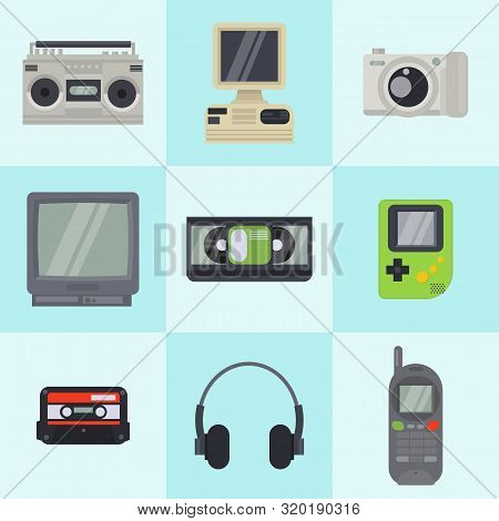 Vintage 90s Technology Multimedia Devices Vector Pattern In Squares. Flat Illustration Of Old Retro