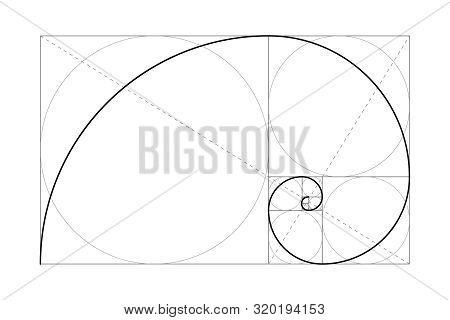 Golden Ratio. Fibonacci Number. Circles In Golden Proportion. Geometric Shapes. Vector Illustration