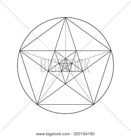 Pentagram. Pentagonal Star. Golden Section. Fibonacci Number. Geometric Shape. Abstract Vector Backg