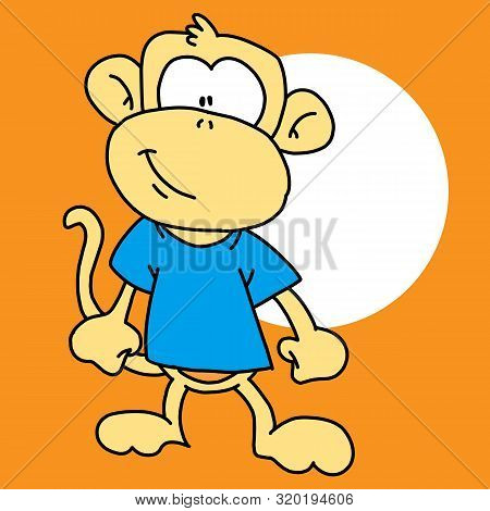 Monkey Icon. Monkey Icon Vector Flat Illustration For Graphic And Web Design Isolated On Black Backg