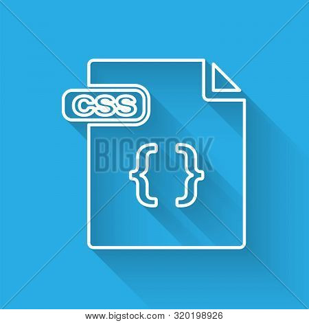 White Line Css File Document. Download Css Button Icon Isolated With Long Shadow. Css File Symbol. V