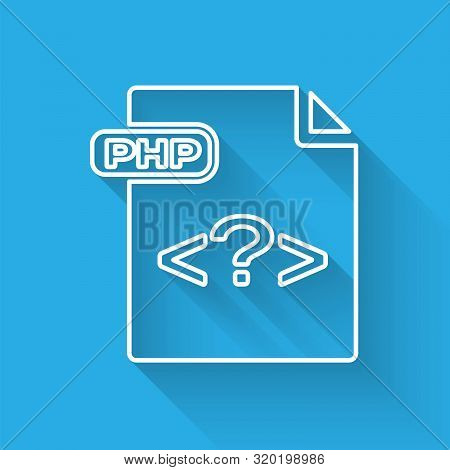 White Line Php File Document. Download Php Button Icon Isolated With Long Shadow. Php File Symbol. V