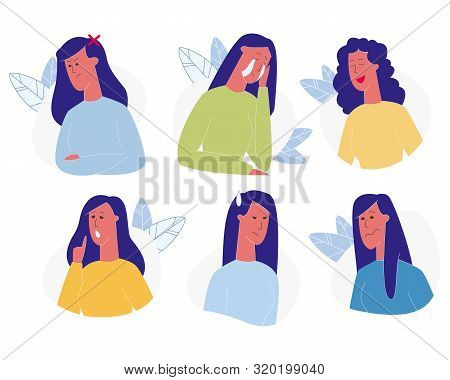 Woman Emotions Set Isolated On White Background. Female Character Emoji, Face Expressions, Girl Expr
