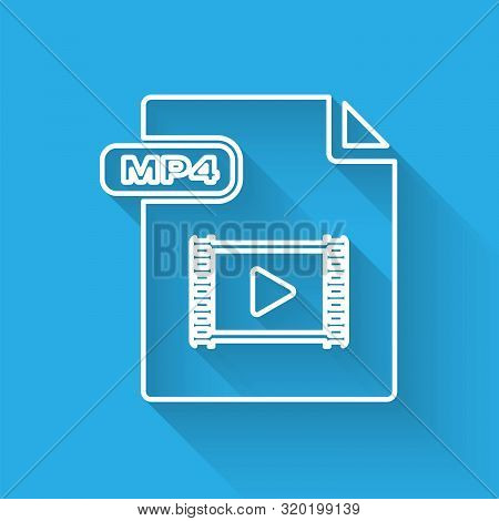 White Line Mp4 File Document. Download Mp4 Button Icon Isolated With Long Shadow. Mp4 File Symbol. V
