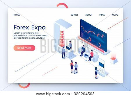 Forex Expo Horizontal Banner. Composition Of Trade Stall In Exhibition Center With People Looking At