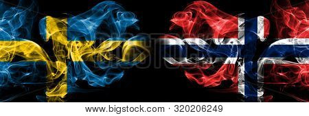 Sweden, Swedish, Norway, Norwegian, Flip Competition Thick Colorful Smoky Flags. European Football Q