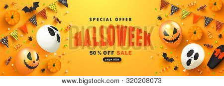 Halloween Sale Promotion Poster With Scary Balloons, Paper Bats, Spiders, Candy, Coffin And Serpenti
