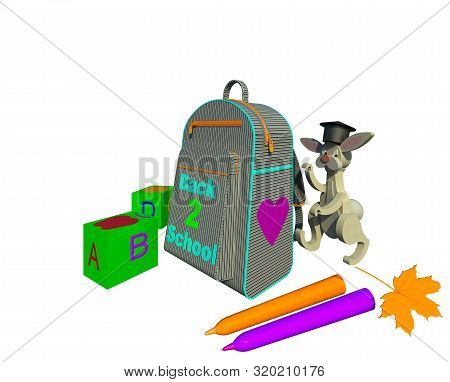 Back To School 3d Illustration 2. School Backpack With Zippers Pockets And Belts, Cubes With Letters