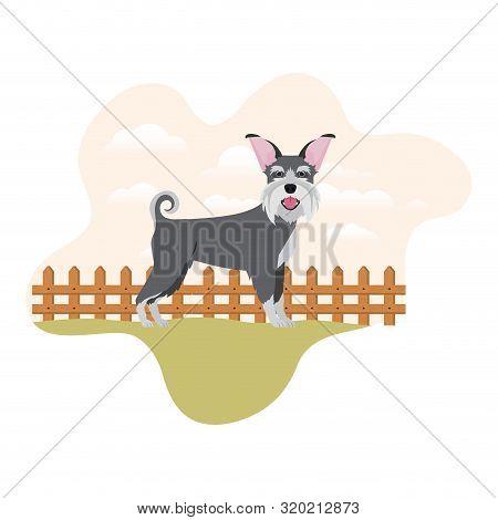 Cute Schnauzer Dog With Background Landscape Vector Illustration Design