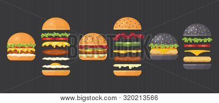 Vector Ingredients For Classic Burger Isolated On White. Ingredients: Bun, Cutlet, Cheese, Bacon, Sa