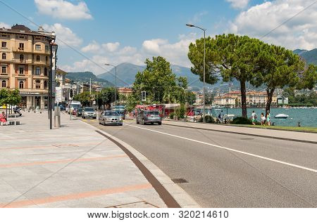 Lugano, Ticino, Switzerland - July 27, 2018: View Of Main Street Of Lugano Center City In A Sunny Su