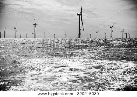 Rampion Wind Farm Off Coast Of Sussex Near Brighton