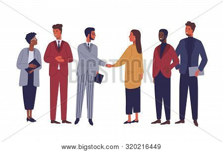 Businessman And Businesswoman Shaking Hands Flat Vector Characters. International Partnership Isolat