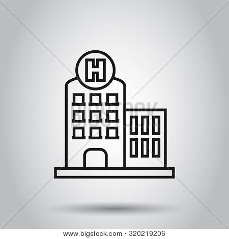 Hospital Building Icon In Flat Style. Infirmary Vector Illustration On Isolated Background. Medical