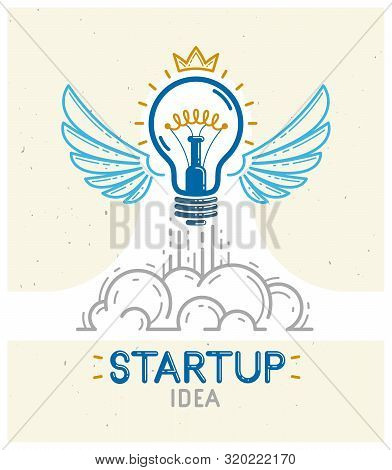 Idea Light Bulb With Wings Launching Like A Rocket Vector Linear Logo Or Icon, Creative Idea Startup