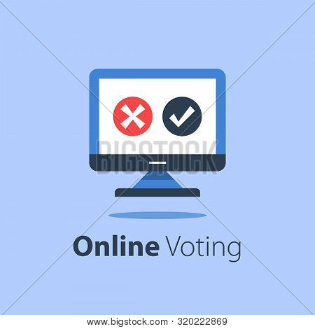 Internet Voting, Submit Online, Government Services, Computer Monitor With Check Mark And Cross